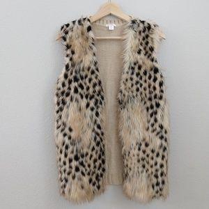 Xhilaration faux fur animal print knit vest